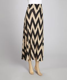 Take a look at this MOA Collection Mocha & Black Zigzag Maxi Skirt on zulily today!