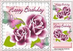 Pretty pink roses and butterflies 8x8 on Craftsuprint - Add To Basket!