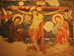 """Maestro di Sant'Agostino - Crocifissione  - Affresco riportato su telaio - Seconda metà del XIII secolo - Pinacoteca civica """"B. Molajoli"""" di Fabriano (Marche, Italia)"""