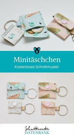Minitäschchen Tasche für Kleingeld Tasche für Einkaufswagenchip kostenloses Schnittmuster Gratis-Nähanleitung