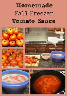 Recipe and pictures for making a freezer tomato sauce to use up and preserve leftover tomatoes in the fall.