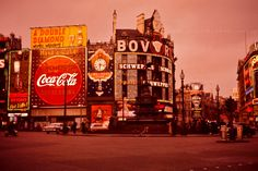 Scanned from an Ektachrome slide in my Dad's collection. Circa 1960 I believe. Piccadilly Circus, British Invasion, Old London, London Street, Story Inspiration, Countries, Nostalgia, Advertising, England