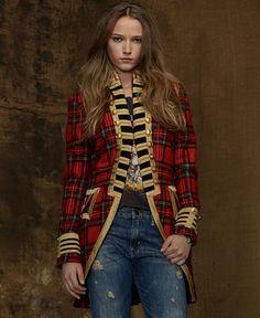 This coat is amazing. Denim & Supply Ralph Lauren Coat, Plaid Tweed Gold-Trim Military - Denim & Supply Ralph Lauren - Women - Macy's