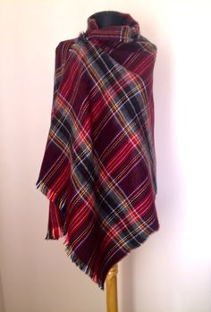 Cozy, warm fall and Winter Scarf  Plum Burgundy, Gray, Black, Red & White Tartan Plaid Casual Shawl   Ultra Soft, Rectangle Shape  Blanket scarf,   You can use it as a neck...