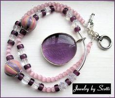 Purple Pink Pendant Necklace // Handmade Pendant // Handmade Ceramic Beads // Swavorski Bicones // Mothers Day