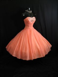 Vintage 1950s Coral Peach Pink, Beaded, Ruched, Chiffon/Organza Dress