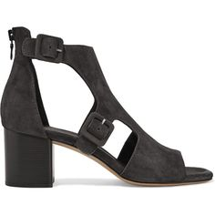 Rag & bone Matteo cutout suede sandals (€440) ❤ liked on Polyvore featuring shoes, sandals, charcoal, ankle strap sandals, cutout sandals, ankle strap shoes, mid heel sandals and zipper shoes