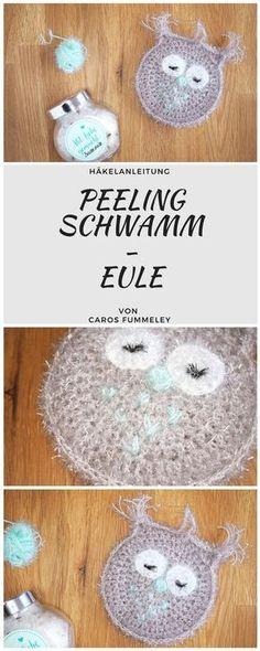 Häkelanleitung für einen Peeling-Schwamm in Form einer Eule - #diy #beautydiy #geschenk #selbermachen #häkeln #eule