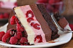 Chocolate Raspberry Mousse Cake | From SugarHero.com