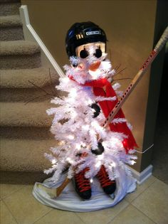 Hockey Snowman Christmas Tree