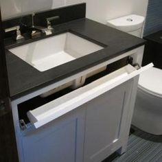 Bathroom Design - this is a must for vanities. Always include this great hiding spot for toothpaste, etc!!