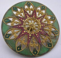 1 Antique Champleve Enamel Button of Intricate Pierced Design