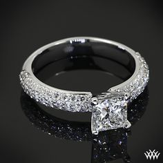 Rounded Pave Diamond Engagement Ring featuring 1.130ct Expert Selection Princess