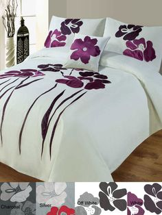 Pavots by Gouchee elegantly presents a stylized floral applique design. The large scale of this botanical pattern capture the movement of the summer breeze. Bed Cover Design, Bed Design, Draps Design, Bed Sheet Painting Design, Designer Bed Sheets, Painted Beds, Fabric Paint Designs, Quilt Bedding, Diy Pillows