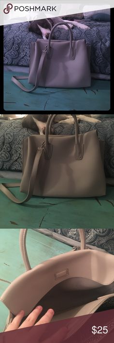 Urban Expressions large satchel Light gray/slate neutral color. NWOT. Bought from TJ Maxx but has been sitting in my closet! Like new condition. Has three sections, two magnetic as shown and the middle is a zippered section with a small zippered pocket inside for personals. Very chic, comes with messenger strap. Doggo not included 😂 Urban Expressions Bags Satchels