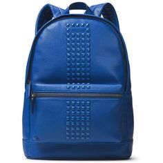 Michael Kors Bryant Studded Leather Backpack featuring polyvore, men's fashion, men's bags, men's backpacks, electric blue and mens leather backpack