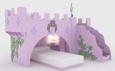 Cama para niña con castillo