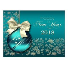 Happy New Year 2018. Christmas Bauble Postcards - christmas cards merry xmas family party holidays cyo diy greeting card