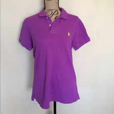 Ralph Lauren skinny fit polo purple w/yellow horse  Worn once  Please ask for additional pictures, measurements, or ask questions before purchase.  No trades or other apps  Ships next business day, unless noted in my closet   Bundle for discount Ralph Lauren Tops Tees - Short Sleeve