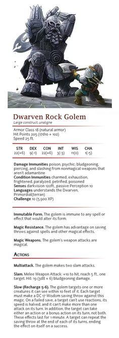 Dwarven Rock Golem - CR 10 by dizman on DeviantArt Dnd Dragons, Dungeons And Dragons 5e, Dungeons And Dragons Homebrew, Dnd Characters, Fantasy Characters, Fantasy Creatures, Mythical Creatures, Dnd Dwarf, Dnd Stats