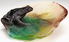 Pate de Verre Glass; Almeric Walter, Dish, Frog, 6 inch.