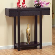 Enitial Lab 10341 Ella Red Cocoa Hallway Accent Table