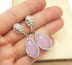 Pink Earrings with Sterling Silver, for Prom Parties and Cocktail Events. Customized Jewelry from Jewelsalem