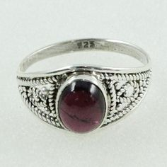 FOREVER SHINE !! Garnet Stone 925 Sterling Silver Ring _ Quality Exporter by JaipurSilverIndia on Etsy