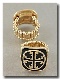 Goldtone/Black Cross Stretch Ring - Tory Burch Style WWW.FACEBOOK.COM/JEWELJUNKIE