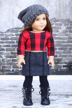 18 Inch Doll Clothes | Trendy Red Black Buffalo Plaid Check Knit 3/4 Sleeve CROP TOP for 18 Inch Doll such as American Girl Doll by Closet4Chloe on Etsy https://www.etsy.com/listing/257691623/18-inch-doll-clothes-trendy-red-black