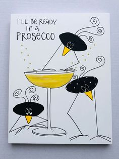 I'll be ready in a prosecco - Micke & Murre Prosecco, Diy And Crafts, Poems, Canvas Art, Scrap, Colours, Lettering, Quilts, Humor