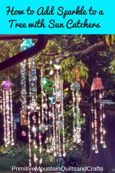 Sep 2019 - See how to add sparkle to a tree with sun catchers. Beautiful glass and acrylic beads reflect sun light and make a spectacular display in the tree. Diy Wind Chimes, Glass Wind Chimes, Glass Bead Crafts, Glass Art, Bird Bath Garden, Tree Garden, Glass Garden, Garden Whimsy, Garden Junk