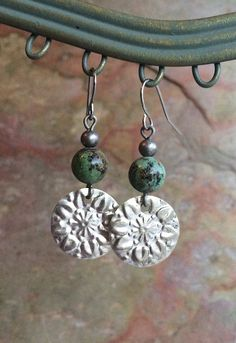 Boho Silver and Turquoise Flower Stamped by RusticaJewelry on Etsy