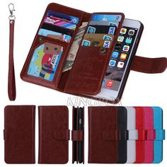 Premium Leather 9 Card Holder Flip Wallet Wristlet Purse Case For iPhone 6 /Plus #UnbrandedGeneric