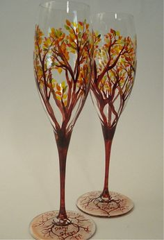 Champagne Flutes Hand Painted Autumn Trees - Set of 2