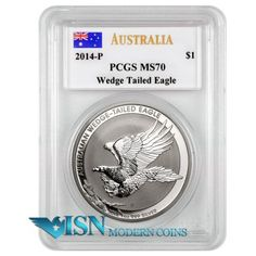 2014-P Australia $1 Wedge Tailed Silver Eagle Signed By John Mercanti PCGS MS70   Historic First Year of Issue   This special coin was designed by John M. Mercanti for Australia, and is a stunning example of his work! PCGS graded examples come hand signed by the designer Mr. Mercanti!   Mintage: 50,000  Visit www.isnmoderncoins.com/35775