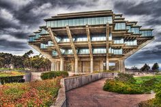The Geisel Library (yes, named for Dr. Seuss) at University of California, San Diego is definitely the coolest library of all time. It is also of science fiction fame in Vernor Vinge's Hugo-award winning novel, Rainbows End.