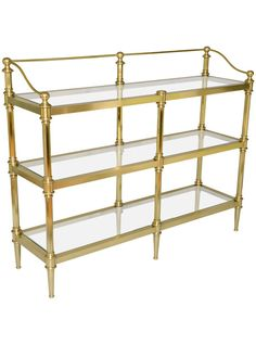 Mid Century Brass Etagere - Great to use for a bar Vintage Shelving, Antique Shelves, Vintage Shelf, Coin Café, Glass Shelves Kitchen, Candle Holder Decor, Cafe Bistro, French Bistro, Decorating Coffee Tables