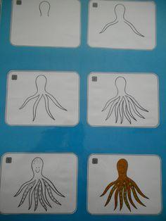 octopus tekenen met stappenplan (A3) *liestr*