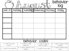 The Polka Dot Patch: Behavior Log August - December Classroom Behavior Management, Behaviour Management, Behaviour Chart, Class Management, Student Behavior Log, Preschool Behavior, Behavior Plans, Classroom Fun, Kindergarten Classroom