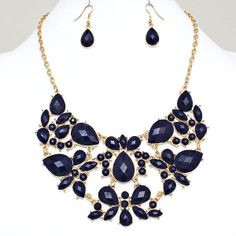 Navy Blue Gold Tone Bubble Bib Statement Costume Jewelry Necklace & Earring Set #Jewelry #Deal #Fashion