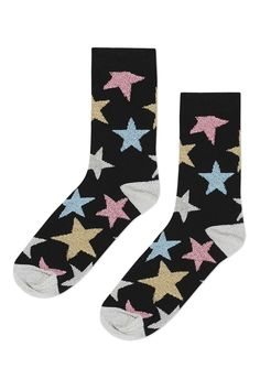 Discover the latest in women's fashion and new season trends at Topshop. Topshop Socks, Tennis Socks, Glitter Stars, Cool Socks, Ankle Socks, Star Print, Hosiery, Bag Accessories, Asos
