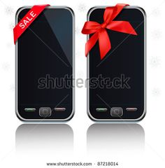 Two modern touch-screen mobile phones with ribbon and a sale sign. Vector.