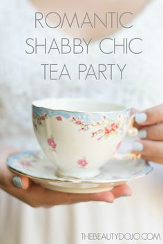 Romantic Shabby Chic Tea Party. Beautiful tea party with burlap, floral print, mason jars, and crates.