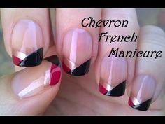 Chevron FRENCH MANICURE Tutorial - No Tool Nail Art Design! - YouTube
