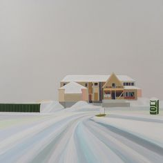 """Grant Haffner """"Winter in the Hamptons"""" acrylic on wood, 18x18 inches, 2015"""