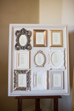 Vintage frame seating chart: http://www.stylemepretty.com/destination-weddings/2014/02/27/english-country-wedding-at-boconnoc-house-and-estate/ | Photography: Sarah Falugo - http://www.sarahfalugo.com/