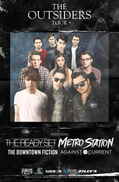 Enter for a chance to tickets to The Outsiders Tour featuring The Ready Set, Metro Station, Against The Current and The Downtown Fiction, via Live Nation and Digital Tour Bus, at http://digtb.us/theoutsiderstour