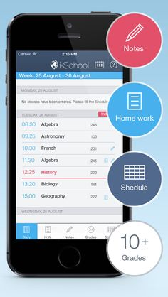 i-School - School diary        iOS Universal This is an English version of a famous Russian study organizer (for schools and universities). Very minimalistic but has everything you need. Study schedule, notes are attached to classes, homework with notifications, grades, grades analytic. Take a pictures or use voice recording as a note. Very simple. Very useful.   4MB