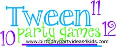 Tween party games for ages 10, 11 and 12 http://www.birthdaypartyideas4kids.com/tween-party-games.htm